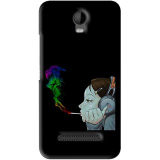 Snooky Printed Color Of Smoke Mobile Back Cover For Micromax Bolt Q335 - Black