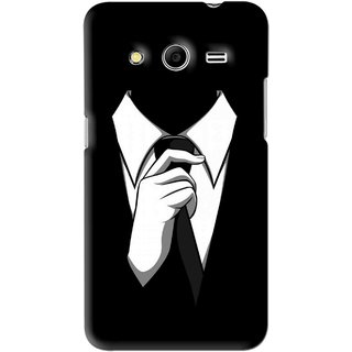Snooky Printed White Collar Mobile Back Cover For Samsung Galaxy Core 2 - Black