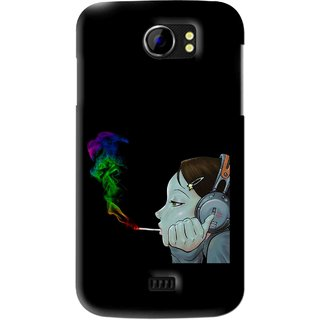 Snooky Printed Color Of Smoke Mobile Back Cover For Micromax Canvas 2 A110 - Black