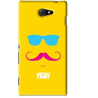 Snooky Printed Yeah Mobile Back Cover For Sony Xperia M2 - Yellow