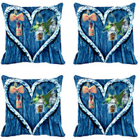 MeSleep Blue Heart Digitally Printed Cushion Covers