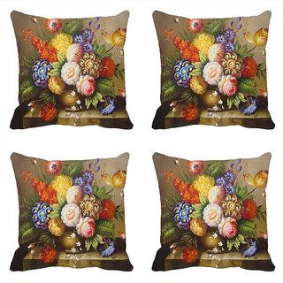meSleep Round Vase Flowersdigitally Printed Cushion Covers