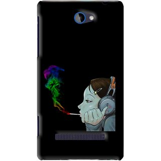 Snooky Printed Color Of Smoke Mobile Back Cover For HTC 8S - Black