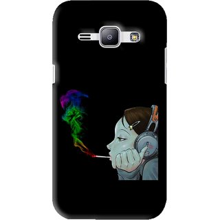 Snooky Printed Color Of Smoke Mobile Back Cover For Samsung Galaxy J1 - Black