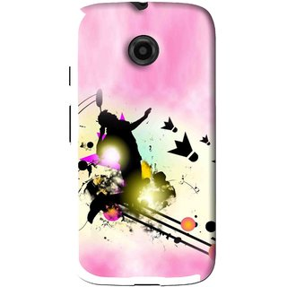 Snooky Printed Flying Man Mobile Back Cover For Moto E - Pink