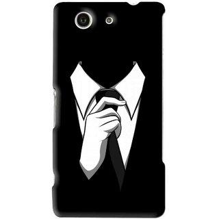 Snooky Printed White Collar Mobile Back Cover For Sony Z3 Mini - Black
