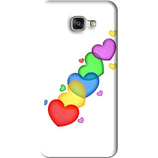 Snooky Printed Colorfull Hearts Mobile Back Cover For Samsung Galaxy A7 2016 - White