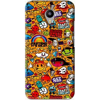 Snooky Printed Freaky Print Mobile Back Cover For Meizu M1 Note - Yellow