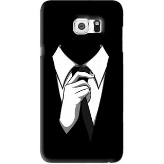 Snooky Printed White Collar Mobile Back Cover For Samsung Galaxy S6 Edge Plus - Black