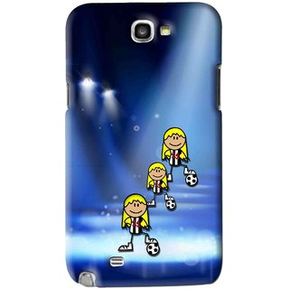 Snooky Printed Girls On Top Mobile Back Cover For Samsung Galaxy Note 2 - Blue