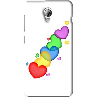 Snooky Printed Colorfull Hearts Mobile Back Cover For Lenovo Vibe P1 - White