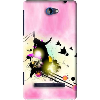 Snooky Printed Flying Man Mobile Back Cover For HTC 8S - Pink