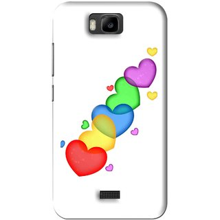 Snooky Printed Colorfull Hearts Mobile Back Cover For Huawei Honor Bee - White