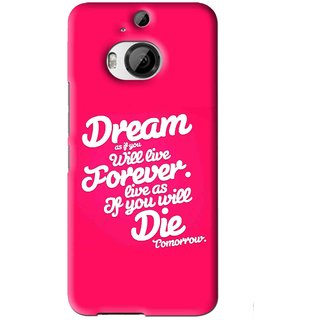 Snooky Printed Live the Life Mobile Back Cover For HTC One M9 Plus - Pink
