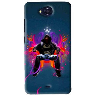 Snooky Printed Live In Attitude Mobile Back Cover For Micromax Canvas Play - Blue