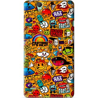 Snooky Printed Freaky Print Mobile Back Cover For Sony Xperia C4 - Yellow