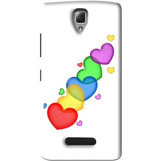 Snooky Printed Colorfull Hearts Mobile Back Cover For Lenovo A2010 - White