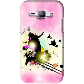 Snooky Printed Flying Man Mobile Back Cover For Samsung Galaxy J1 - Pink