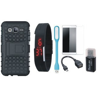 Lenovo K6 Shockproof Tough Armour Defender Case with Memory Card Reader, Free Digital LED Watch, Tempered Glass, LED Light and OTG Cable