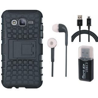 Samsung J7 Prime ( SM-G610F ) Defender Back Cover with Kick Stand with Memory Card Reader, Earphones and USB Cable