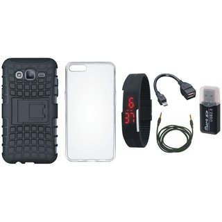 Samsung J7 Prime ( SM-G610F ) Defender Back Cover with Kick Stand with Memory Card Reader, Silicon Back Cover, Digital Watch, OTG Cable and AUX Cable