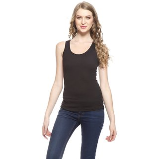 I Shop Casual Sleeveless Solid, Striped Women's Black Top