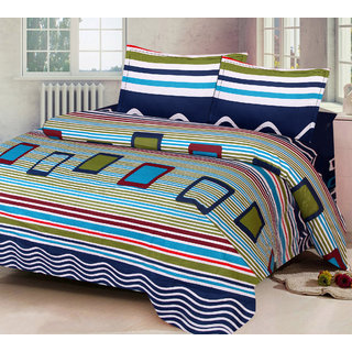 NestRoots Classic Navy Blue Satin Stripe Solid Double 100 Cotton  Bed Sheet