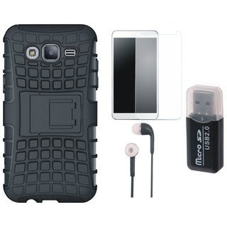 Samsung J7 Prime ( SM-G610F ) Shockproof Tough Defender Cover with Memory Card Reader, Tempered Glass and Earphones