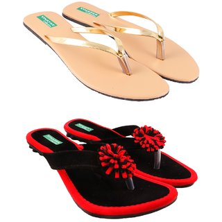 Vinayak Collection Womens Black Gold Slippers Combo of 2