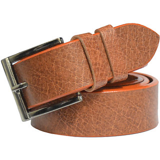 Wholesome Deal Tan Leatherite Belt For Mens  (Synthetic leather/Rexine)