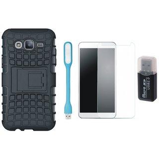 Lenovo K6 Shockproof Kick Stand Defender Back Cover with Memory Card Reader, Tempered Glas and USB LED Light