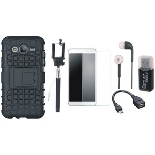 Oppo F3 Plus Defender Back Cover with Kick Stand with Memory Card Reader, Free Selfie Stick, Tempered Glass, Earphones and OTG Cable
