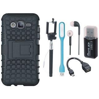 Lenovo K6 Shockproof Kick Stand Defender Back Cover with Memory Card Reader, Selfie Stick, Earphones, OTG Cable and USB LED Light