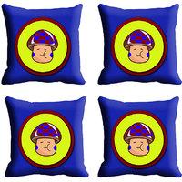 MeSleep Blue Yellow Face Digitally Printed Cushion Covers
