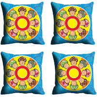 MeSleep Blue Yellow Faces Digitally Printed Cushion Covers