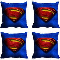 MeSleep Blue Bright Logo Superman Digitally Printed Cushion Covers