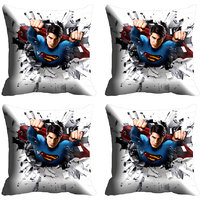 MeSleep Grey Superman Digitally Printed Cushion Covers