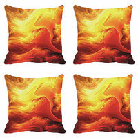 MeSleep Yellow Abstract Digitally Printed Cushion Covers