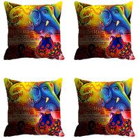 MeSleep Blue Yellow Ganesha Digitally Printed Cushion Covers
