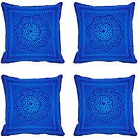 MeSleep Blue Floral Digitally Printed Cushion Covers