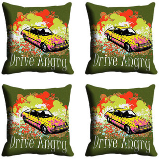 meSleep Green Car Digitally Printed Cushion Covers