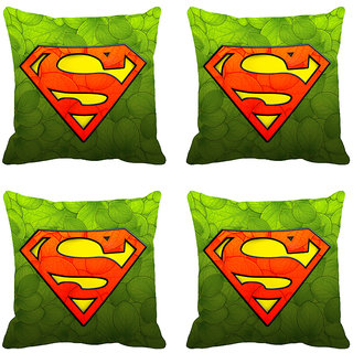 meSleep Green Superman Designer Digitally Printed Cushion Covers