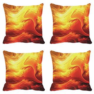 meSleep Yellow Abstract Digitally Printed Cushion Covers