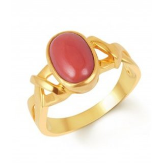 8.25 ratti Natural Red coral Adjustable ring