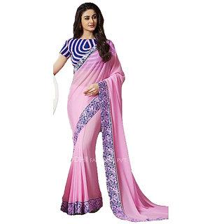 Prayosha Enterprise Multicolor georgette Embroidered Saree  with Blouse