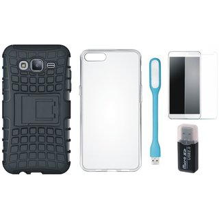Samsung J7 Prime ( SM-G610F ) Defender Back Cover with Kick Stand with Memory Card Reader, Silicon Back Cover, Tempered Glas and USB LED Light