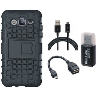 Samsung J7 2016 ( Model J710 ) Defender Tough Armour Shockproof Cover with Memory Card Reader, OTG Cable and USB Cable