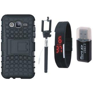 Samsung J7 2016 ( Model J710 ) Defender Tough Hybrid Shockproof Cover with Memory Card Reader, Selfie Stick and Digtal Watch
