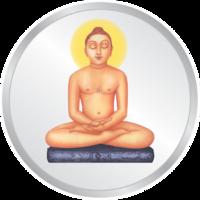 HF MetalArt 20 Gms Silver 999 Mahaveer Ji Enameled Coin