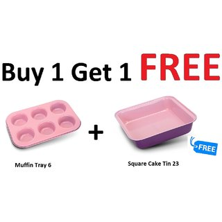 Alda Bakeware Carbon Steel Muffin Tray 6 Miss + FREE Square Cake Tin 23 Miss